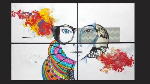 Technique: Collage, digital, stylo, feutre et aquarelle.