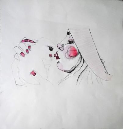 Technique: Stylo et aquarelle . Taille: 47'5x50 cm