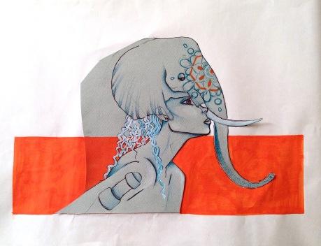 Technique: Collage, Stylo, crayon et poscat. Taille: 29'5x42 cm